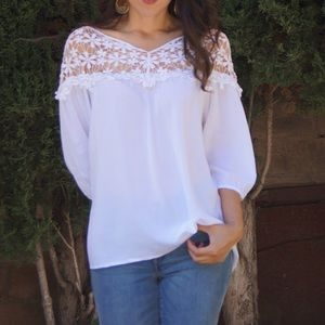 Tops - White top with crochet details